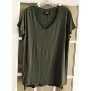 Angie Short Sleeve Top - Olive Green - Small